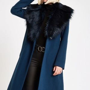 River Island Teal Belted Faux Fur Coat
